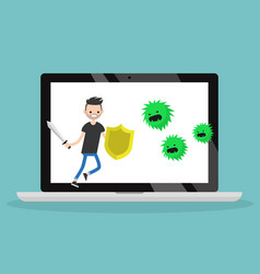 Young bearded man fighting against virus flat vector