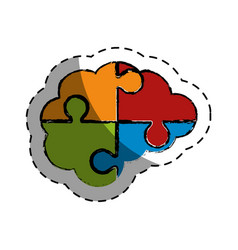 brain human with puzzle pieces creative icon vector image