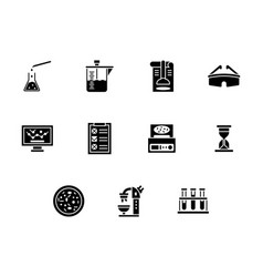 forensic laboratory glyph style icons set vector image