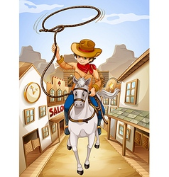 A village with a young boy riding in a horse vector