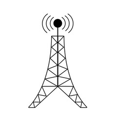 antenna tower broadcast connection pictogram vector image vector image
