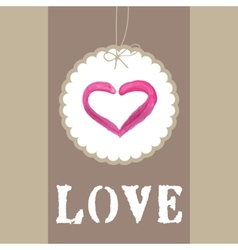 Beautiful greeting vintage Valentines card with vector image vector image