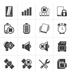 Black Mobile Phone sign icons vector image vector image