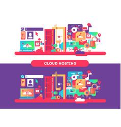 cloud hosting design vector image