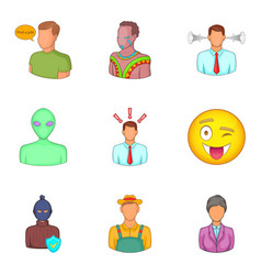 face icons set cartoon style vector image