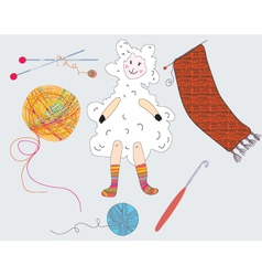 knitted sheep vector image vector image