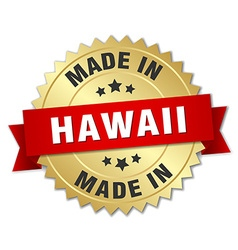 made in Hawaii gold badge with red ribbon vector image vector image
