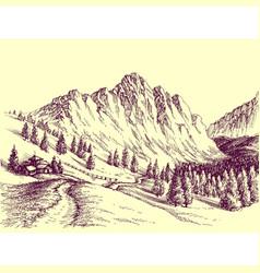 Mountain road alpine scene vector