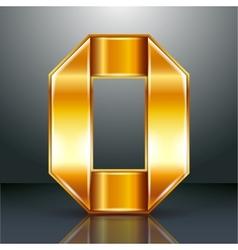 Number metal gold ribbon - 0 - zero vector image vector image