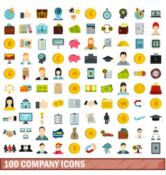 100 company icons set flat style vector image vector image