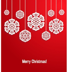 Christmas paper card with hanging snowflakes vector image vector image
