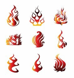 Fire Symbol Icons vector image vector image