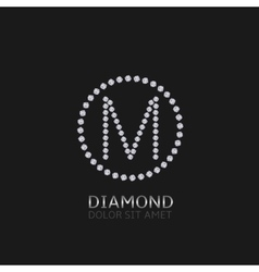 M letter with diamonds vector image