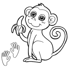 monkey with paw print Coloring Page vector image vector image