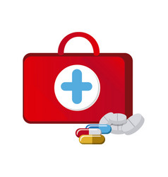 red suitcase health with treatment icon vector image