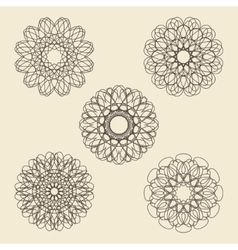 Round ornament set Circle snowflake and floral vector image vector image