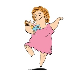Woman and child dancing vector image