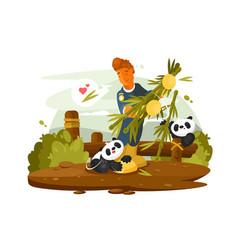 zoo worker feeds cute pandas vector image