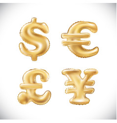 gold dollar euro yen pound sterling symbol vector image