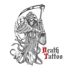 Grim reaper sketch with skeleton in cape vector image