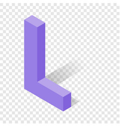 l letter in isometric 3d style with shadow vector image
