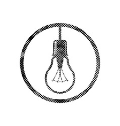 Light bulb icon with pixel print halftone dots vector image
