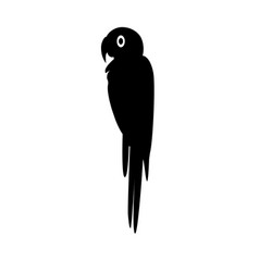 macaw parrot silhouette icon in flat style vector image