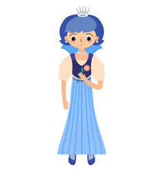 the fairytale princess in blue dress vector image