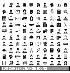 100 career change icons set simple style vector
