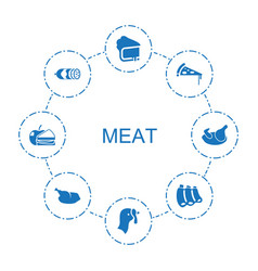8 meat icons vector
