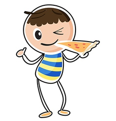 A sketch of a boy eating a pizza vector image
