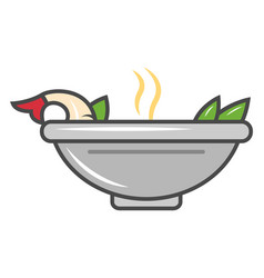 Asian noodle soup isolated icon vector