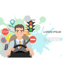 banner of traffic symbols and driver vector image