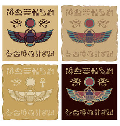 Banners with egyptian scarab and hieroglyphs vector