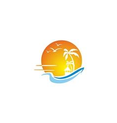 Beach ocean sunset travel tropic hawaii logo vector