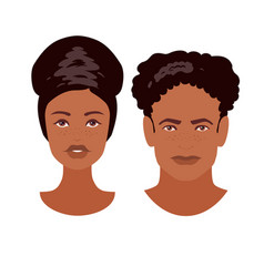 Beautiful young dark-skinned woman and man faces vector