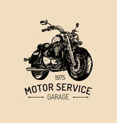Biker garage logo hand drawn motorcycle vector