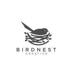 Bird and nest logo design vector