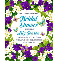 Bridal shower wedding invitation with flower frame vector