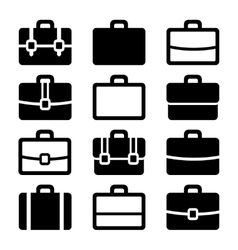 Briefcase Icons Set on White Background vector image
