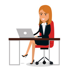 businesswoman in workplace character vector image