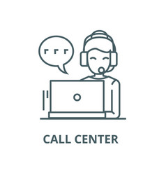 call centerwoman with headset line icon vector image
