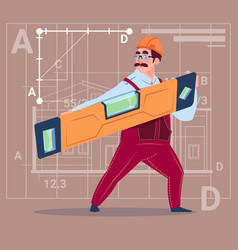 cartoon builder holding carpenter level wearing vector image