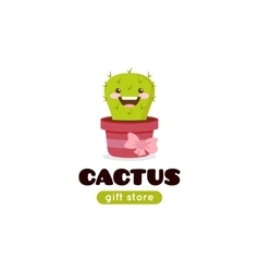 Cartoon cactus mascot logo for gift shop vector