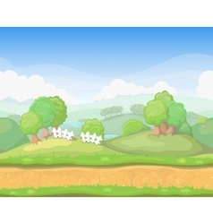 Cartoon cute country seamless horizontal vector