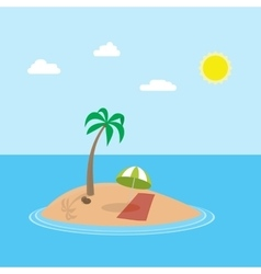 Cartoon scene of exotic holiday island with vector