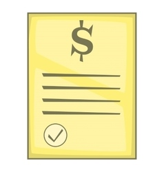Cheque icon cartoon style vector