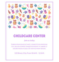 Childcare center banner template with cute baby vector
