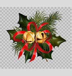 Christmas decoration holly fir wreath bow golden vector