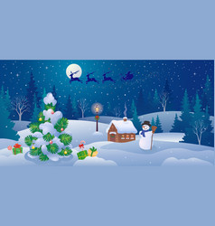 christmas landscape panorama vector image